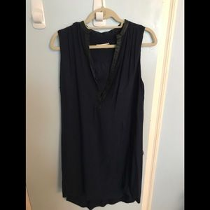 Alice and Olivia Dress Blue with Leather Trim